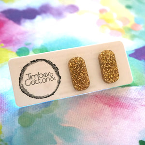 Rectangle Stud- Gold Glitter