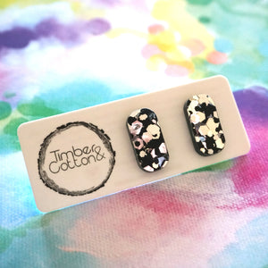 Rectangle Stud- Black & Silver Flake