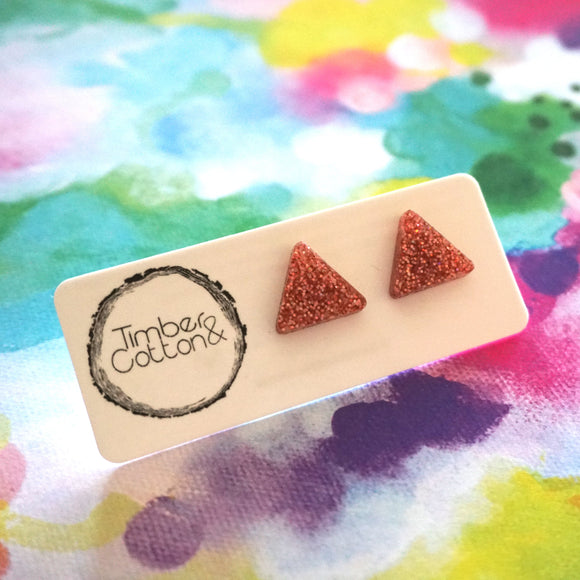 Triangle Stud- Holographic Rose Gold Glitter