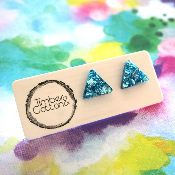 Triangle Stud- Blue Flake