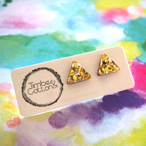 Triangle Stud- Gold & Silver Flake