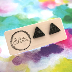 Triangle Stud- Black Glitter