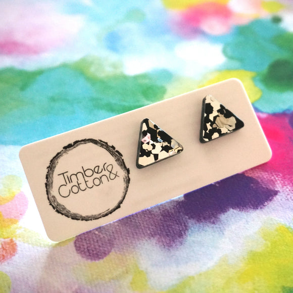 Triangle Stud- Black & Silver Flake