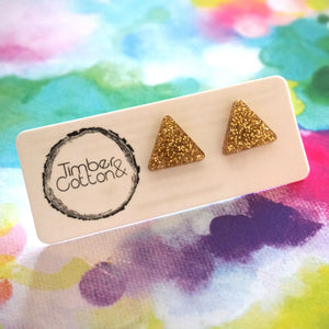 Triangle Stud- Gold Glitter