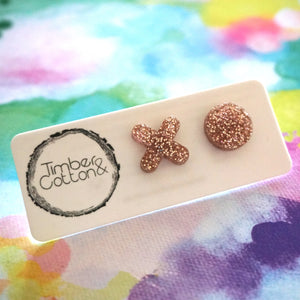 XO stud- Rose Gold Glitter