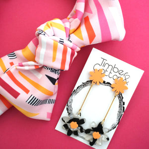 Floral Stems 'Peach & Black and White'- Timber & Cotton