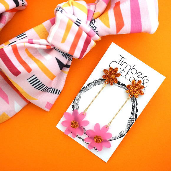 Floral Stems 'Orange Glitter & Frosted Pink'- Timber & Cotton