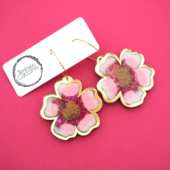 Cherry Blossom Hoop Dangles- Timber & Cotton