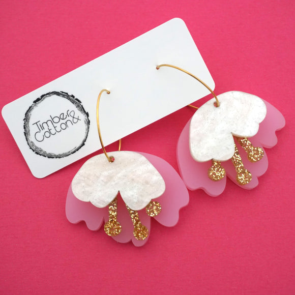 Cherry Blossom Stacked Hoop Dangles in Matte Pink- Timber & Cotton