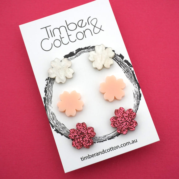 Cherry Blossom Trio Studs- Timber & Cotton