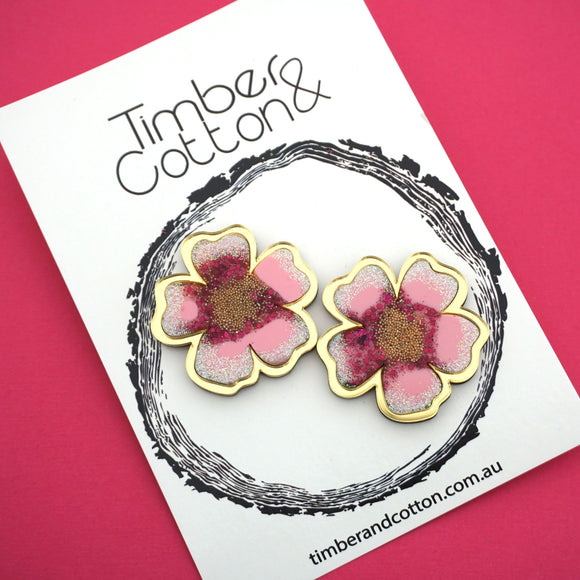 Cherry Blossom Statement Studs- Timber & Cotton