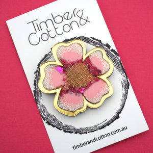 Cherry Blossom Brooch- Timber & Cotton