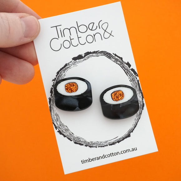 Sushi Roll Statement Studs- Timber & Cotton