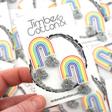 'Rainbow In The Clouds' Statement Studs- Timber & Cotton