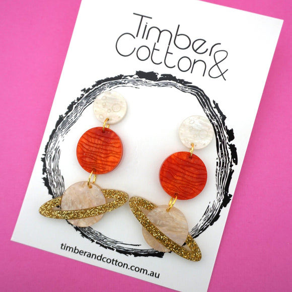 The Planets Align Dangles- Timber & Cotton