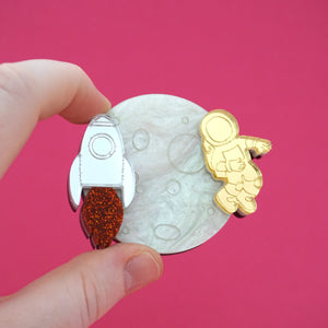 """One Giant Leap For Mankind"" Brooch- Timber & Cotton"