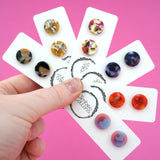 13mm 'Mustard Swirl' Circle Stud Earrings- Timber & Cotton