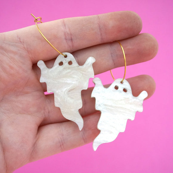 White Ripple Glitter Halloween Ghost Hoops- Timber & Cotton