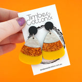 Candy Corn Halloween Dangles- Timber & Cotton