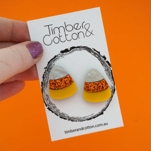 Candy Corn Halloween Statement Stud- Timber & Cotton