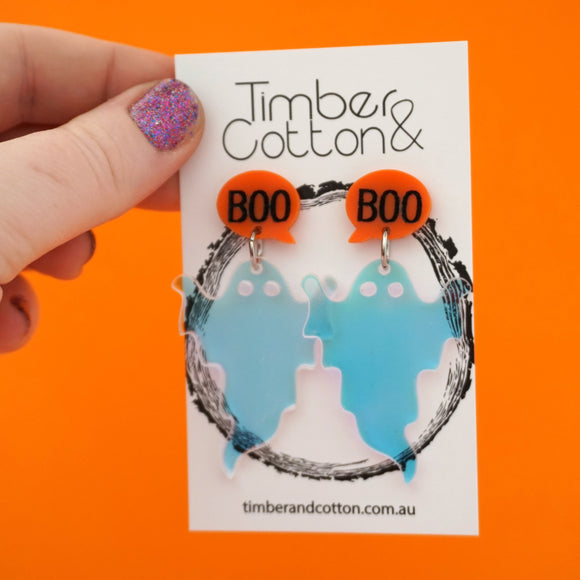 Iridescent 'Boo' Ghost Halloween Dangles- Timber & Cotton
