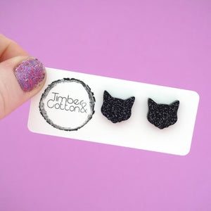 Black Glitter Halloween Cat Face Studs- Timber & Cotton