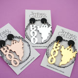 Mismatch 'Boo' & Ghost Mirror Halloween Dangles- Timber & Cotton