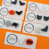 Black Glitter Halloween Bat Studs- Timber & Cotton