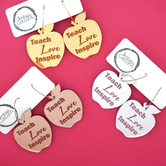 'Teach Love Inspire' Apple Hoop Dangles- Timber & Cotton