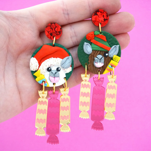 Alpaca/Llama Macca's Christmas Crackers Dangles- Timber & Cotton + Spiky Peach