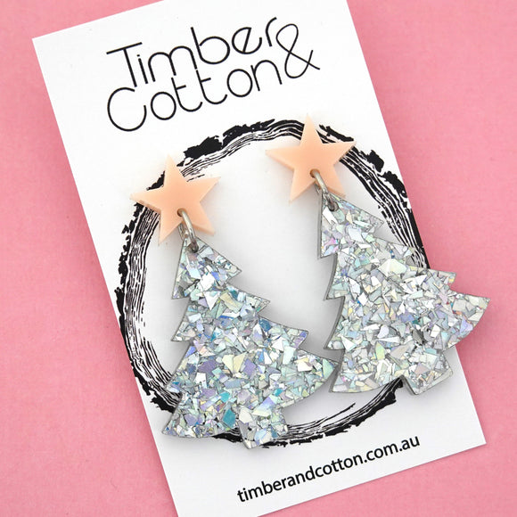 'Oh Christmas Tree' Dangles in Blush Pink & Holographic Silver Flake Glitter- Timber & Cotton