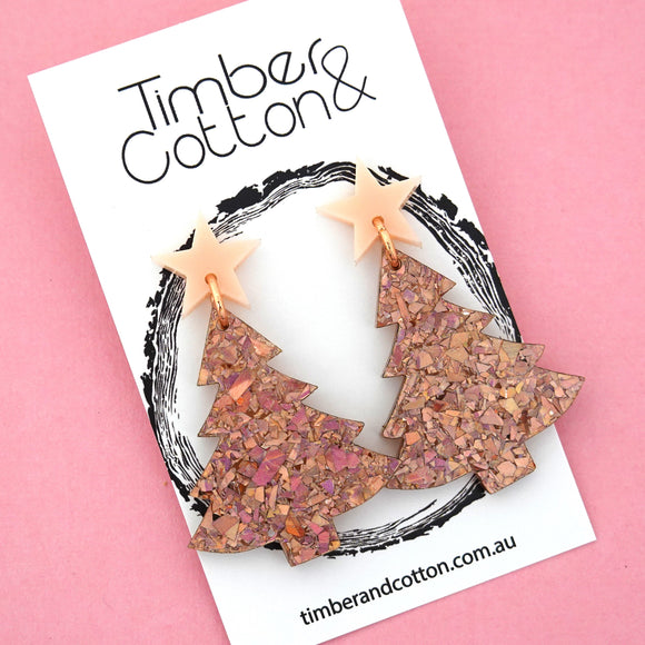 'Oh Christmas Tree' Dangles in Blush Pink & Holographic Rose Gold Flake Glitter- Timber & Cotton