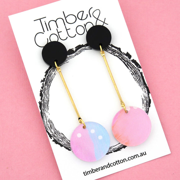 Summer Dot Circle Drop Dangles Design 1- Timber & Cotton
