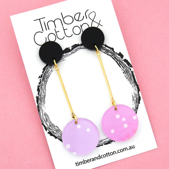 Summer Dot Circle Drop Dangles Design 2- Timber & Cotton