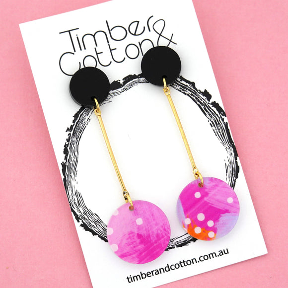 Summer Dot Circle Drop Dangles Design 3- Timber & Cotton