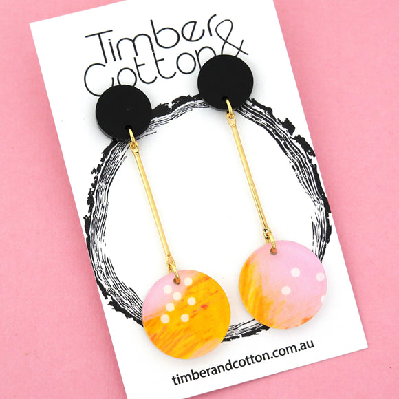 Summer Dot Circle Drop Dangles Design 5- Timber & Cotton