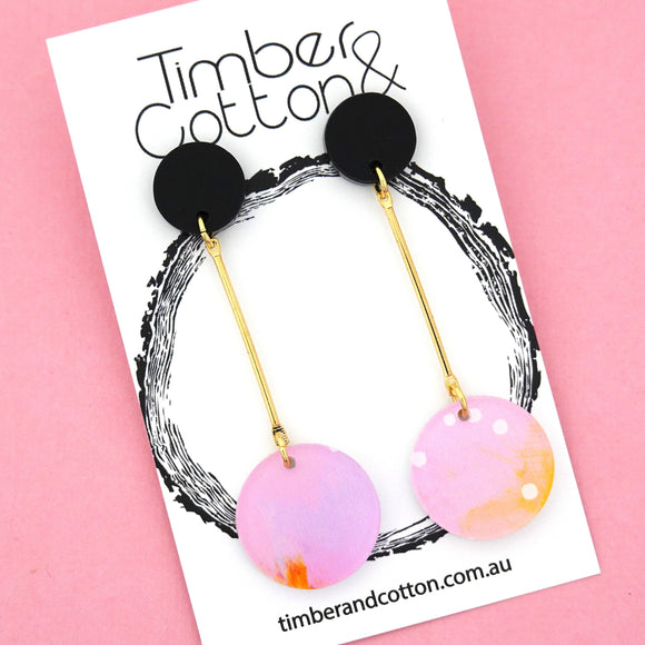 Summer Dot Circle Drop Dangles Design 6- Timber & Cotton