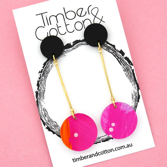 Summer Dot Circle Drop Dangles Design 7- Timber & Cotton
