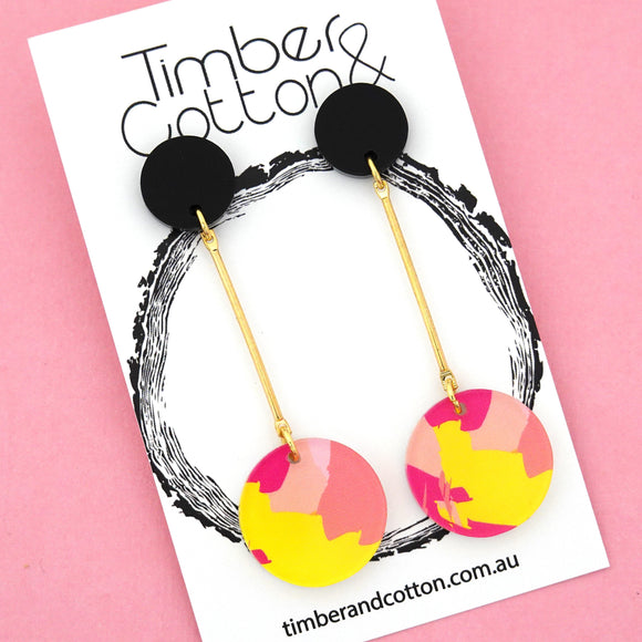 Sunset Circle Drop Dangles Design 1- Timber & Cotton