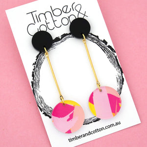 Sunset Circle Drop Dangles Design 7- Timber & Cotton