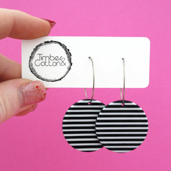 Circle 'Monochrome Stripe' Hoop Dangle Earrings- Timber & Cotton