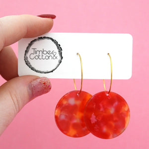 Circle 'Sunset' Hoop Dangle Earrings- Timber & Cotton