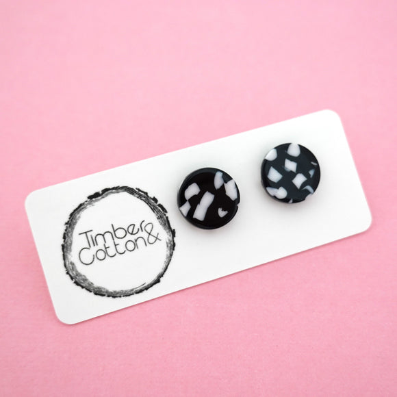 13mm 'Monochrome Organic Polkadot' Circle Stud Earrings- Timber & Cotton
