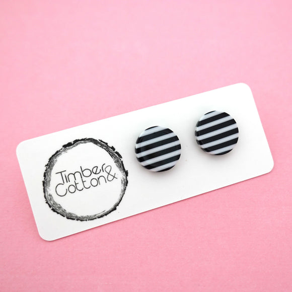 13mm 'Monochrome Stripe' Circle Stud Earrings- Timber & Cotton