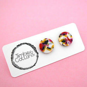 13mm 'Floral Tiger' Circle Stud Earrings- Timber & Cotton
