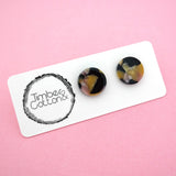 13mm 'Earthy Opal' Circle Stud Earrings- Timber & Cotton