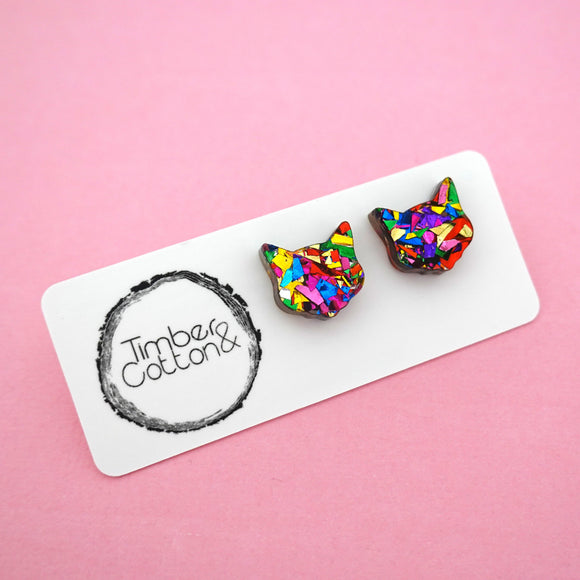 Cat Face 'Rainbow Confetti' Stud Earrings- Timber & Cotton