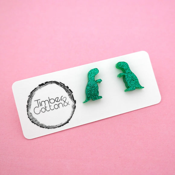 Dinosaur T-Rex 'Green Glitter' Stud Earrings- Timber & Cotton