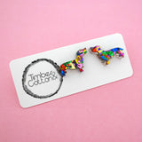 Dachshund Sausage Dog 'Rainbow Confetti' Stud Earrings- Timber & Cotton