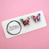 Butterfly 'Rainbow Confetti' Stud Earrings- Timber & Cotton